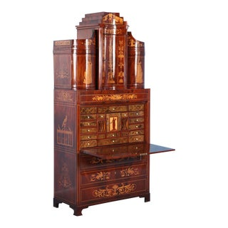 Antique 19th Century Inlaid Mahogany Empire Secretary, Circa 1810-1820 For Sale