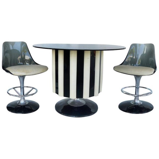 1970s Mid-Century Modern Chromecraft Acrylic & Chrome Dry Bar & Two Stools - 3 Pieces For Sale - Image 11 of 11