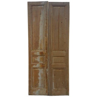 1980's Vintage Venetian Style Moroccan Wooden Double-Door Panel For Sale