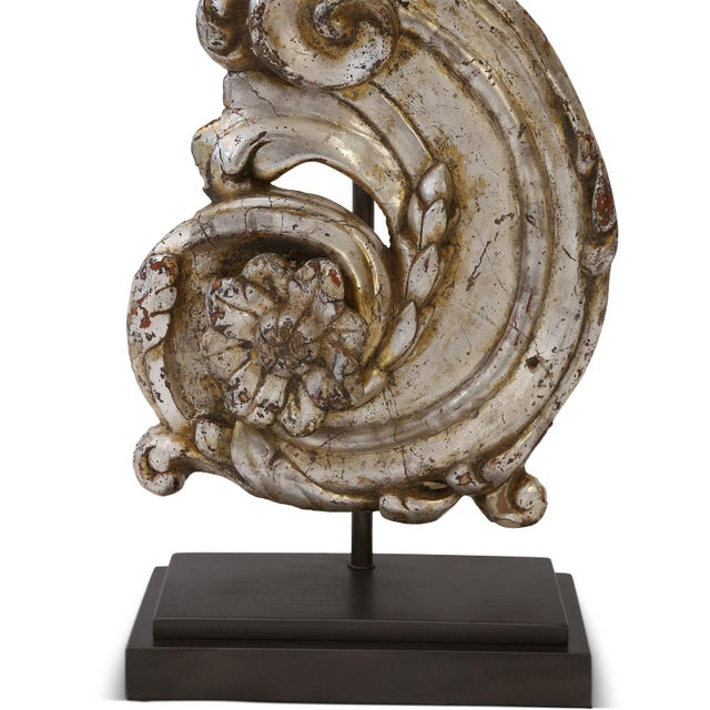 Silver gilt custom lamp created from mid-18th century hand-carved architectural fragment, mounted onto custom stand and...