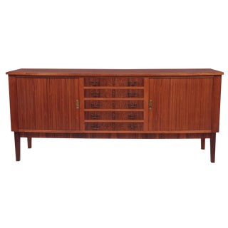 Rosewood Brass and Tambour Door Credenza For Sale