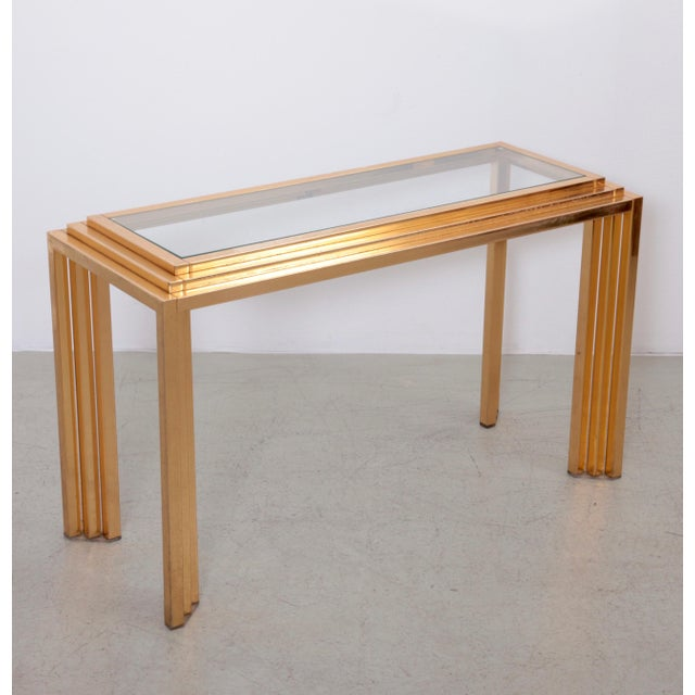 Brass Brass Skyscraper Console or Side Table in the Manner of Willy Rizzo For Sale - Image 7 of 7
