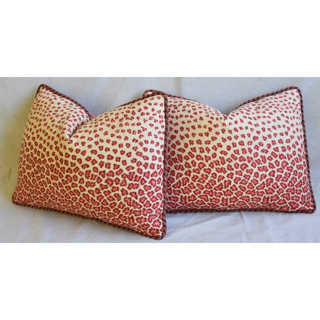 "Colefax & Fowler Leopard Print & Chenille Feather/Down Pillows 22"" X 16"" - Pair For Sale - Image 9 of 13"