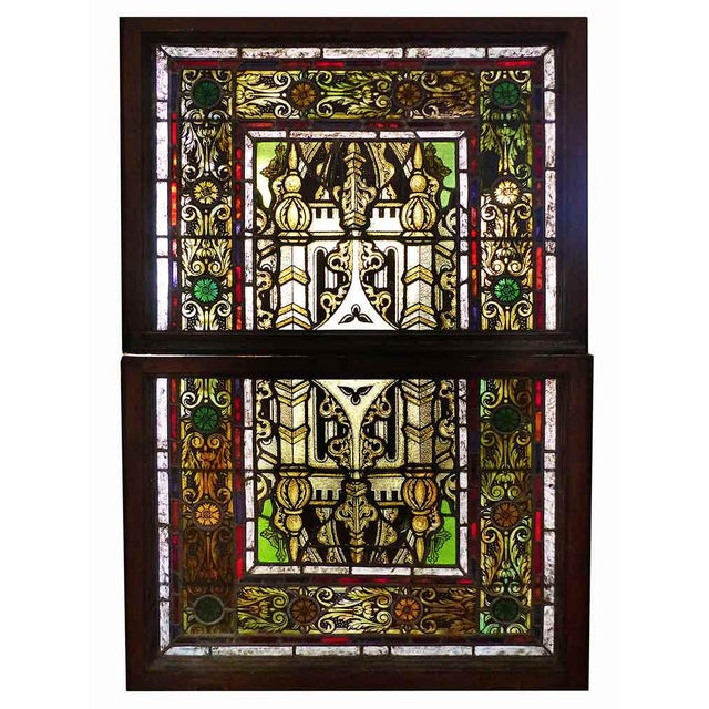 Late 19th Century Traditional Polychrome Stained Glass Window For Sale - Image 4 of 4