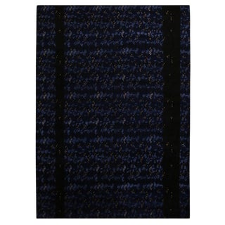 Rug & Kilim's Scandinavian-Inspired Geometric Black and Blue Wool Pile Rug For Sale