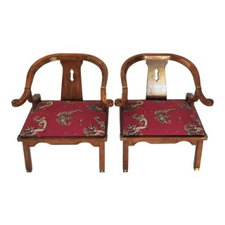 1950s Chinese James Mont Horseshoe Chairs - a Pair For Sale