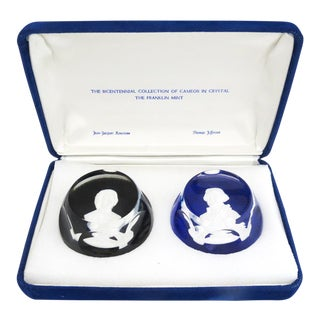 Baccarat Rousseau and Jefferson Paperweights Bicentennial Collection Cameo Paperweights - a Pair For Sale