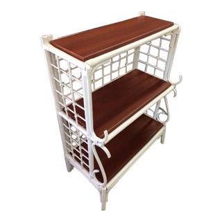 White Wicker 3 Shelf Unit With Wood Shelves For Sale