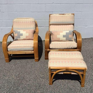 1960s Vintage Bamboo Rattan Lounger Chair & Ottoman Set- 3 Pieces Preview