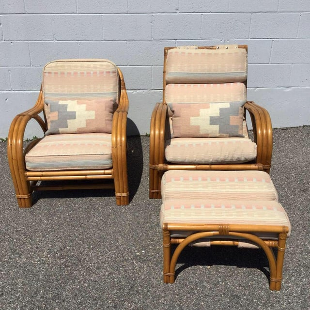Vintage reclined rattan/bamboo lounger and ottoman matched with a side chair! A perfectly pastel color palette with a...