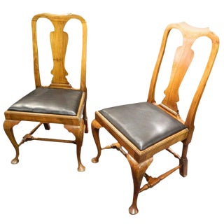 Pair of Queen Anne Style Walnut Side Chairs Yoked Crest, 19th Century For Sale