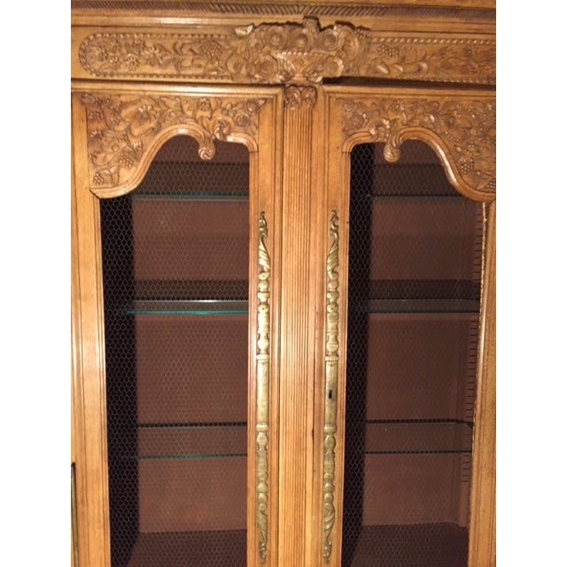 19th Century French Carved 2 Door Chicken Wire Vitrine For Sale In Los Angeles - Image 6 of 12