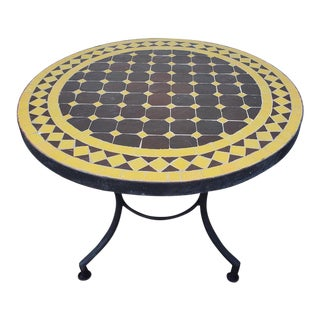 Brown / Yellow Moroccan Mosaic Table For Sale