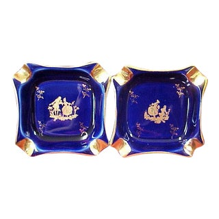 Limoges Cobalt Ashtrays - a Pair