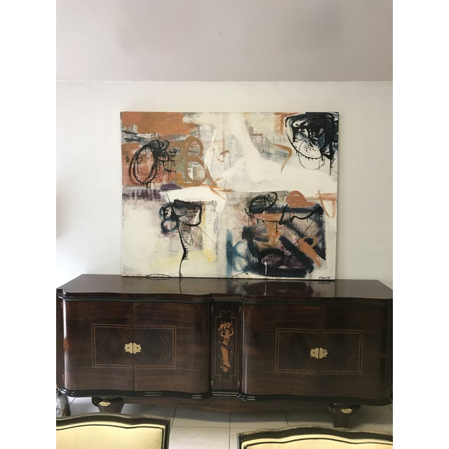 Abstract oil painting on canvas .The piece is signed Franchy, the abstract it's in very good condition. We traveled to buy...