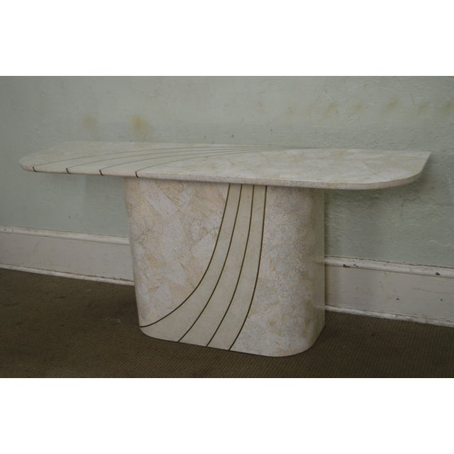 1990s Maitland Smith Tessellated Stone Brass Inlaid Mid-Century Modern Console Table For Sale - Image 5 of 13