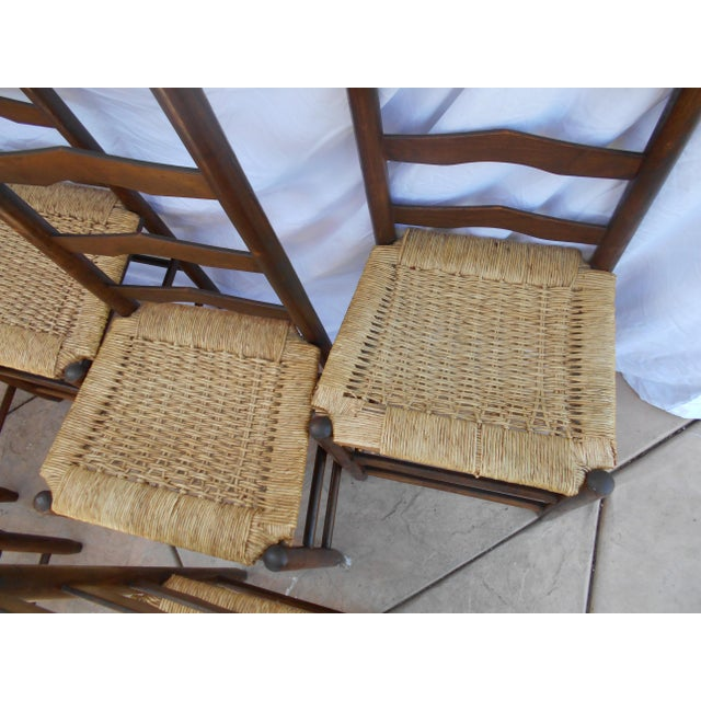 Vintage French Ladder Back Dining Chairs - Set of 6 - Image 8 of 9