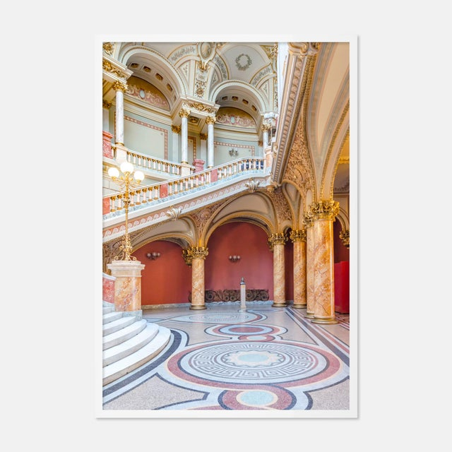 Contemporary The Romanian Atheneum Lobby by Richard Silver in White Framed Paper, Large Art Print For Sale - Image 3 of 3