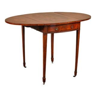 19th C. English Mahogany George III Pembroke Table W/Inlaid Fan & Sunburst W/Drawer For Sale