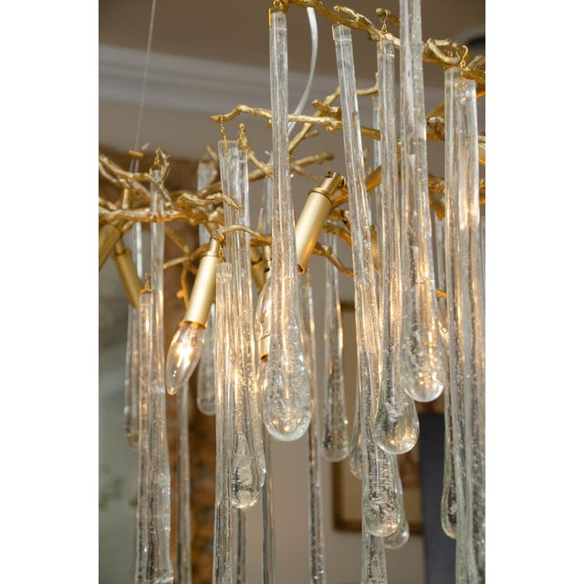 Gilt Metal Chandelier With Crystal Drops For Sale In New York - Image 6 of 10