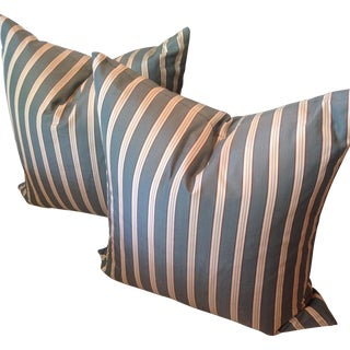 Traditional Custom Striped Pillows - A Pair For Sale