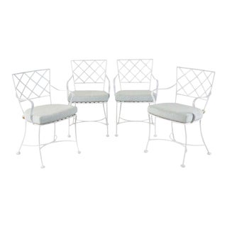 Set of Four Neoclassical Style Iron Garden Dining Chairs For Sale