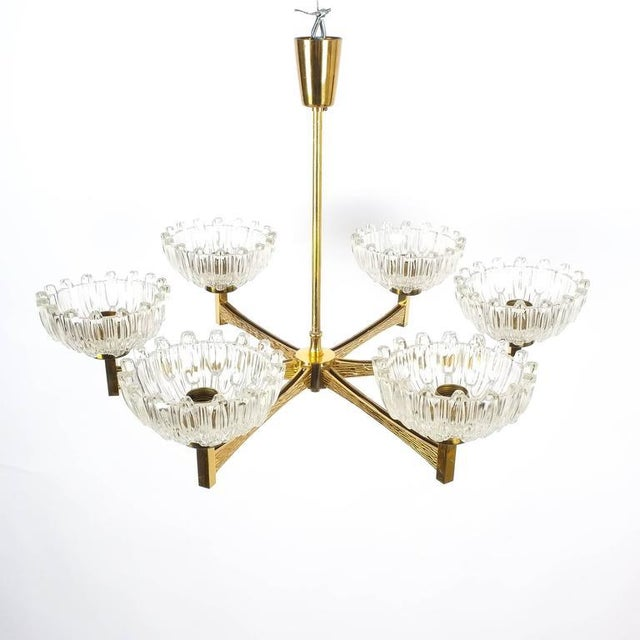 Exceptional Brass Frame Chandelier With Six Frosted And Polished Crystal Cups Attributed To Hans Agne