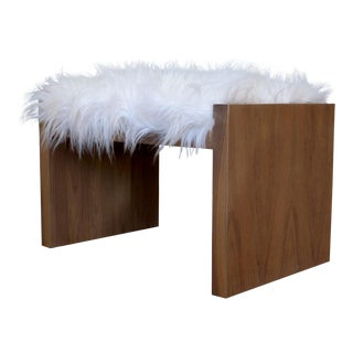 Klein Walnut and Faux Fur Bench For Sale