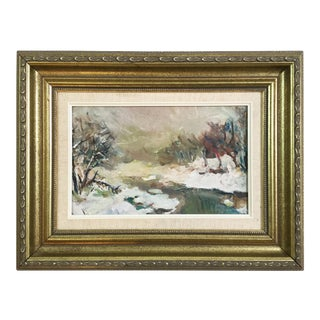 Impressionist Winter Landscape Painting Oil on Board For Sale