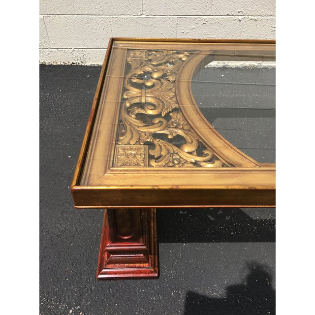 1960s Weiman Gilt Wood Chinoiserie Carved Coffee Table For Sale - Image 5 of 11