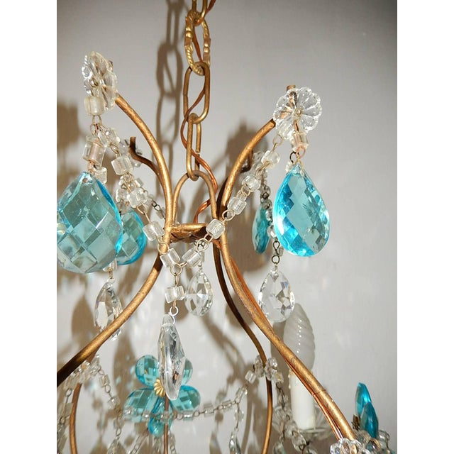 Aqua 1920 French Bagues Style Aqua Flowers Crystal Chandelier For Sale - Image 8 of 10