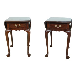 Pair Henkel Harris Drop Leaf Mahogany Pembroke Tables For Sale