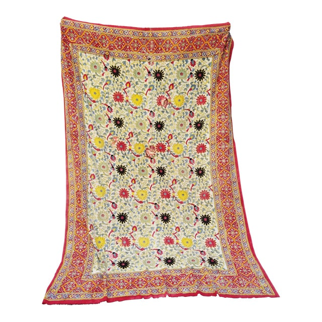 20th Century Turkish Hand Block Printer Suzani Bedspread or Tapestry For Sale