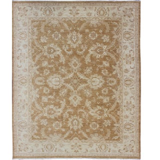 Sultanabad Design Afghan Made Floral Pattern in Earth Tones With Light Caramel and Ivory For Sale