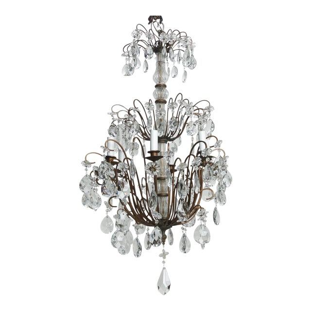 Italian Three Tier Crystal Chandelier with Dark Metal Frame For Sale