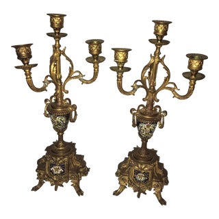 Antique Regency Ornate Inlaid Brass Candlesticks - a Pair For Sale