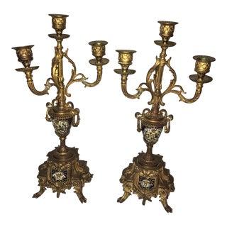 Antique Regency Ornate Inlaid Brass Candlesticks - a Pair