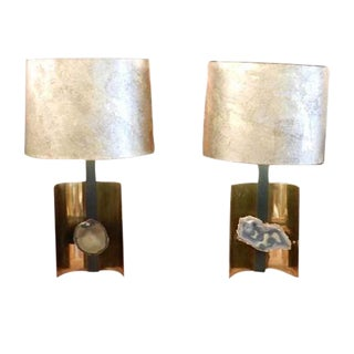 Willy Daro Table Lamps in Brass, Steel and Agate- a Pair For Sale