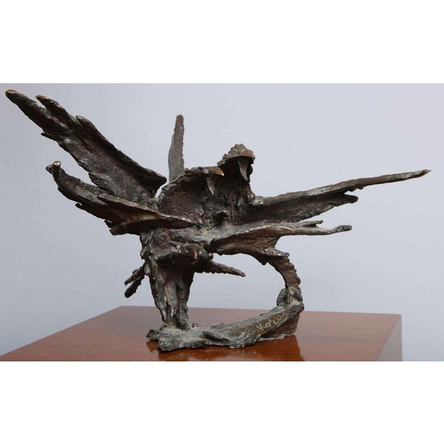 1950s Bronze Sculpture of Ravens by American-New York artist George Koras. Stamped and signed at the base.