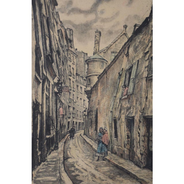 "Joseph MARGULIES (1896-1984) ""The Oldest Rue in Paris"" Etching w/ Aquatinit c.1930s Fine etching by listed American artist..."