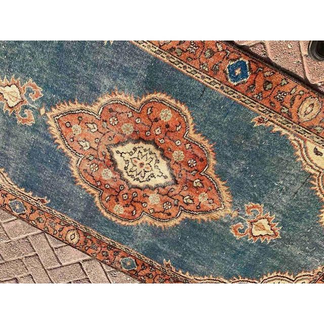 Mid-Century Modern Vintage Hand Knotted Turkish Area Rug For Sale - Image 3 of 10