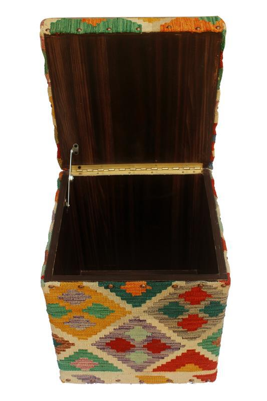 Merveilleux Chic Handmade Ottoman Crafted Using Wood And Upholstered Using Hand Woven  Kilim Wool Rug Is