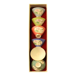 Chinese Multi-Color Flowers Porcelain Handmade Tea Cup 6 Pieces Set For Sale