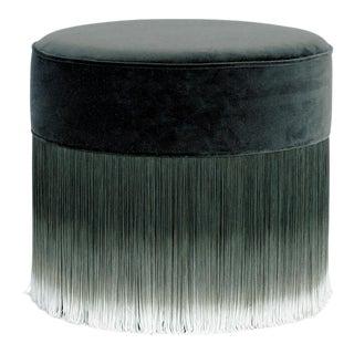 Moooi Dark Gray Velvet Pouf with Fringe For Sale