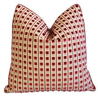 """Italian Scalamandre Red Cut Velvet Pitti Feather/Down Pillow 19"""" Square For Sale"""