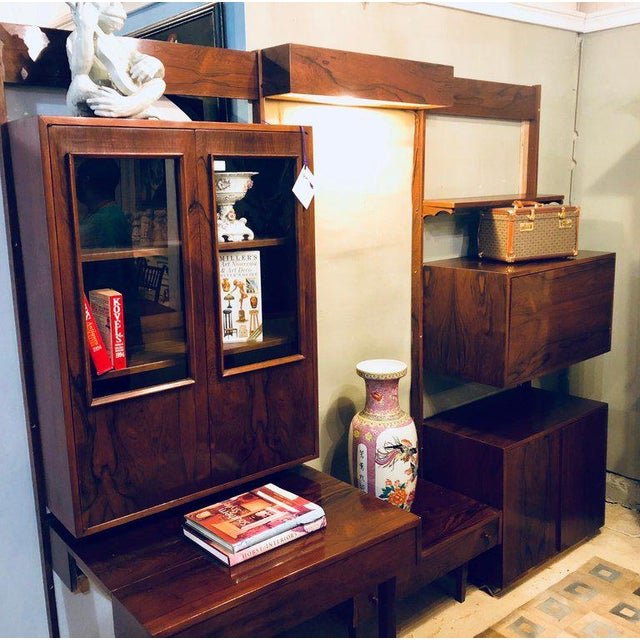 Midentury Rosewood Wall-Unit Including Table, Desk, Curio Cabinet and Light For Sale - Image 12 of 13