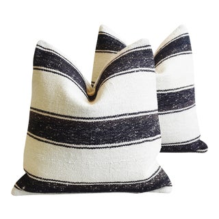 "Charcoal & Neutral Turkish Wool & Hemp Carpet Feather/Down Pillows 20"" Square - Pair For Sale"
