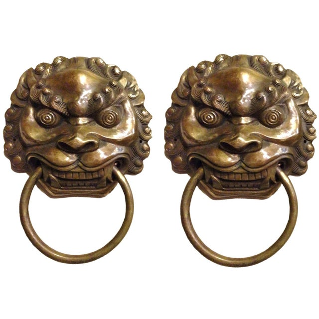 Late 20th Century Vintage Large Lion Mastiff Brass Knockers- a Pair For Sale - Image 13 of 13