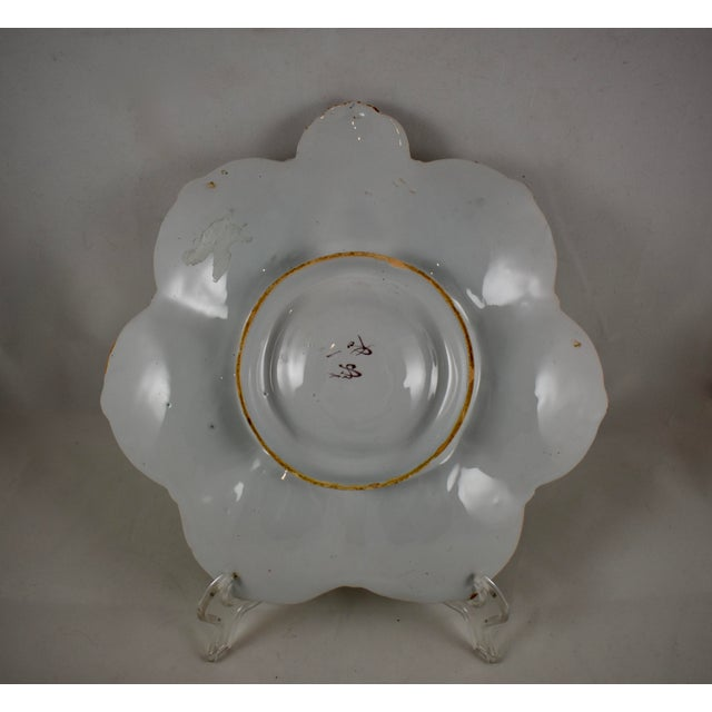 Blue St. Clément French Faïence Turquoise Floral Oyster Plate For Sale - Image 8 of 12
