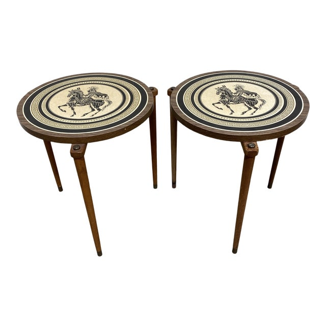 Greek Motif Wood Drink Tables - a Pair For Sale
